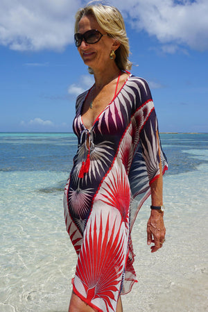 Lotty B Short Kaftan in Silk Chiffon: FAN PALM - NAVY / RED Mustique casual chic