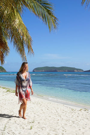 Lotty B Short Kaftan in Silk Chiffon: FAN PALM - NAVY / RED Mustique beach life