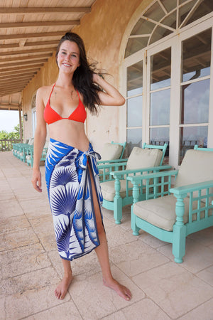 Lotty B Sarong in Silk Crepe-de-Chine: FAN PALM - BLUE / WHITE Mustique cover-up