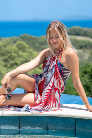 Sarong in Silk Chiffon: FAN PALM - NAVY / RED Mustique style cover-up