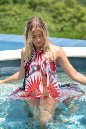 Sarong in Silk Chiffon: FAN PALM - NAVY / RED Mustique style cover up