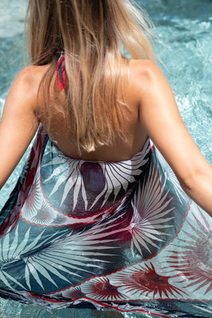 Sarong in Silk Chiffon: FAN PALM - NAVY / RED fabric detail