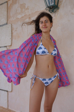 Lotty B Silk Long Silk Scarf: SINGLE PALM REPEAT - PINK / BLUE Caribbean lifestyle, luxury resortwear, designer Lotty B Mustique