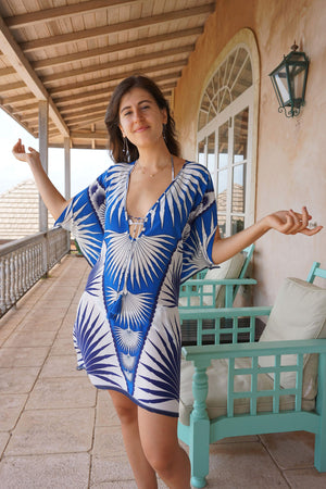Lotty B Short Kaftan in Cotton : FAN PALM - BLUE / WHITE Mustique lifestyle