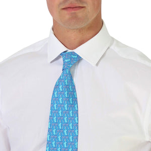 Mens Silk Tie : MUSTIQUE PALMS - BLUE