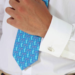 Mens Silk Tie : MUSTIQUE PALMS - BLUE close up