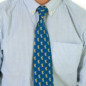 Mens Silk Tie : MUSTIQUE PALMS - NAVY / GOLD
