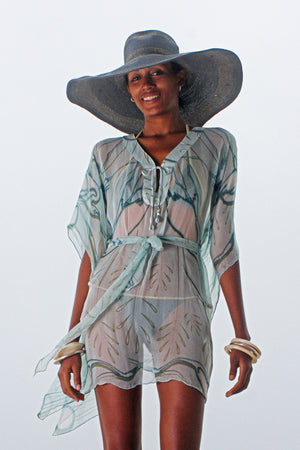 Lotty B Short Kaftan in Chiffon (Egret Lichen)