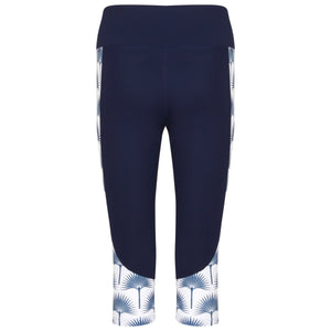 Contour panel cropped leggings : FAN PALM NAVY Designer Lotty B for Pink House Mustique (back)