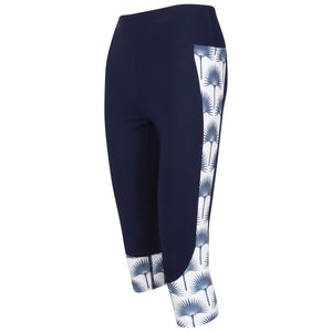 Contour panel cropped leggings : FAN PALM NAVY Designer Lotty B for Pink House Mustique (side)