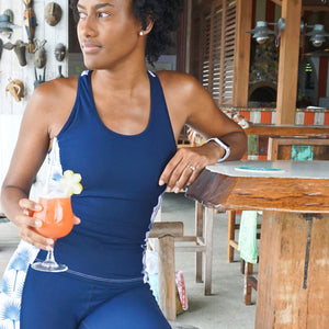 Sports Racer Back Top : FAN PALM NAVY designed by Lotty B exclusive activewear Basils, Mustique