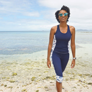 Sports Racer Back Top : FAN PALM NAVY designed by Lotty B exclusive activewear Mustique style