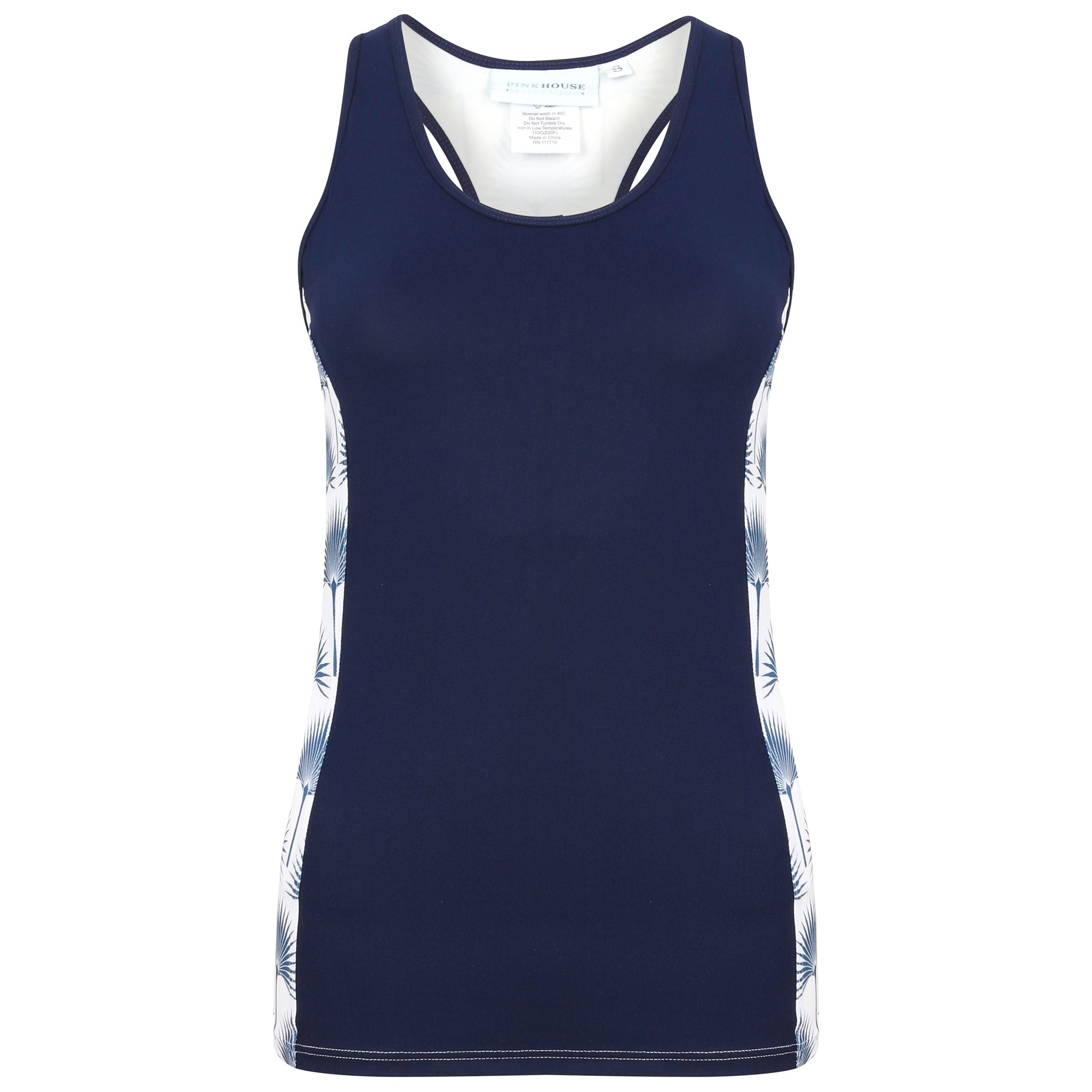 bd18c8b5471b87 Sports Racer Back Top : FAN PALM NAVY designed by Lotty B for Pink House  Mustique