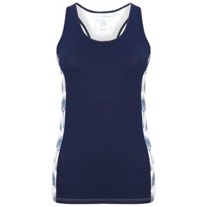 Sports Racer Back Top : FAN PALM NAVY designed by Lotty B for Pink House Mustique