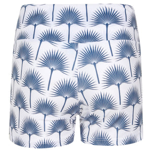 Sports Shorts : FAN PALM NAVY back view designed by Lotty B for Pink House Mustique