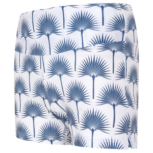 Sports Shorts : FAN PALM NAVY side view designed by Lotty B for Pink House Mustique