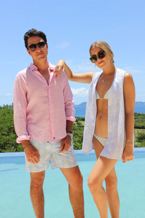 Womens Linen Beach Dress: PINEAPPLE - OLIVE couple Mustique pool