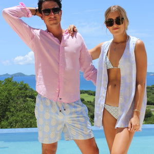 Mens swim trunks : PINEAPPLE - OLIVE designer Lotty B for Pink House Mustique, vacation lifestyle