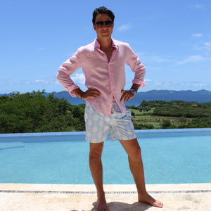 Mens swim trunks : PINEAPPLE - OLIVE designer Lotty B for Pink House Mustique, Caribbean villa lifestyle