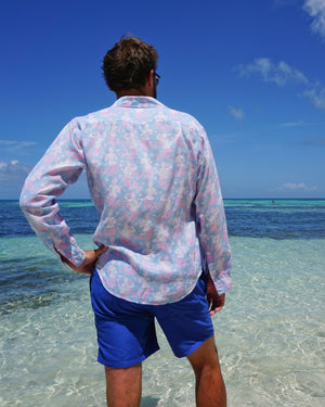Mens Linen Shirt : MERMAID PINK / BLUE worn with regatta blue swim trunks Mustique