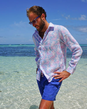 Mens Linen Shirt : MERMAID PINK / BLUE Mustique beach life