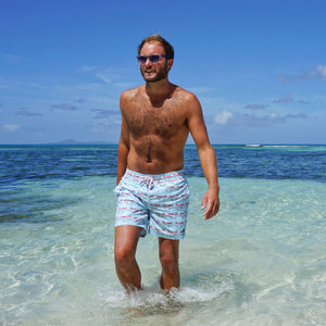 Mens swim trunks : MUSTIQUE MULE - RED Caribbean holiday wear