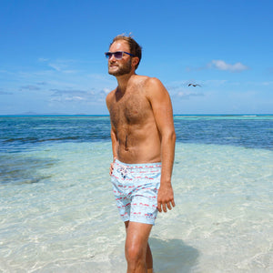 Mens swim trunks : MUSTIQUE MULE - RED island life Mustique