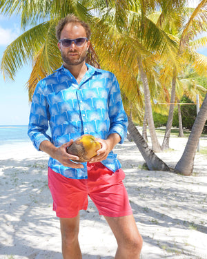 Mens Linen Shirt : FAN PALM PALE BLUE / MID BLUE, Coconuts on Lagoon Bay Mustique
