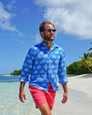 Mens Linen Shirt : FAN PALM PALE BLUE / MID BLUE, Lagoon Bay Mustique