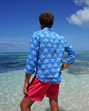 Mens Linen Shirt : FAN PALM PALE BLUE / MID BLUE, Mustique waters