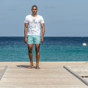 Mens Beach Shorts : MAKO TURQUOISE, Cotton House pier Mustique