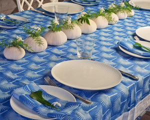 Lotty B Tablecloth & Napkin set: FAN PALM - PALE BLUE / MID BLUE, Mustique style for the home