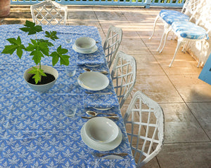 Lotty B Tablecloth & Napkin set: PAPAYA - BLUE, Mustique homeware