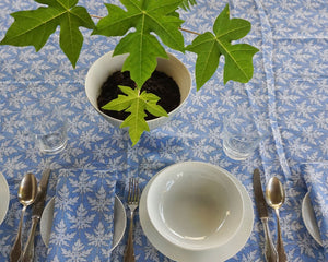 Lotty B Tablecloth & Napkin set: PAPAYA - BLUE, set your table Mustique style!