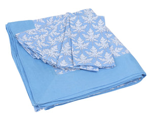 Lotty B Tablecloth & Napkin set: PAPAYA - BLUE