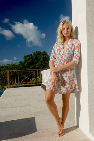 Silk Decima Dress: FLAMBOYANT FLOWER - ORANGE, short flared crepe de chine dress designed by Lotty B Mustique resort fashion