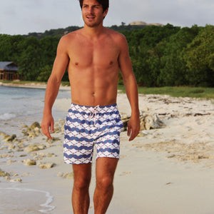 Mens swim trunks : MANTA RAY - NAVY Pink House Mustique beach lifestyle
