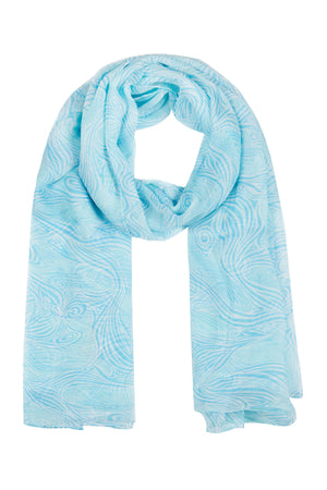 Pure silk scarf in Whale turquoise design by Lotty B hand screen printed on crepe-de-chine. Luxury resortwear.