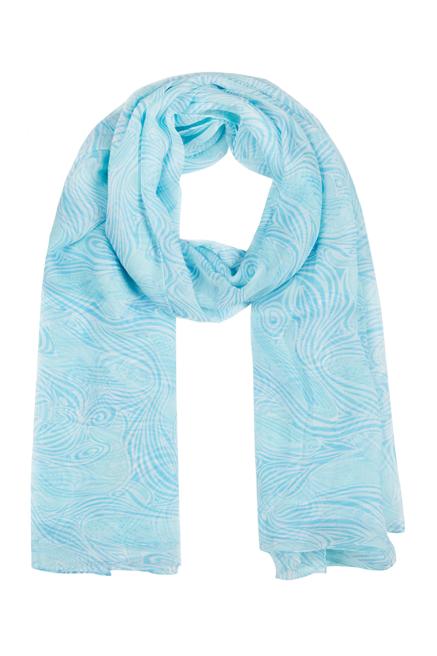 Silk scarf sarong in Whale turquoise design by Lotty B hand screen printed on crepe-de-chine. Mustique island lifestyle.