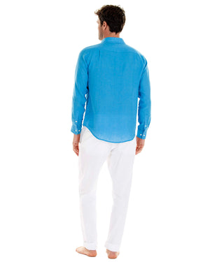 Mens designer Linen Shirt by Lotty B for Pink House Mustique in plain Turquoise Blue, model back