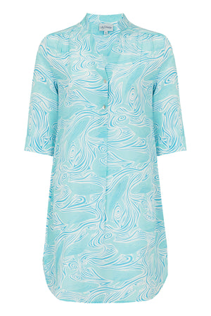 Silk Crepe Decima dress by Lotty B in Whale turquoise print. Mustique Designer Resort Wear
