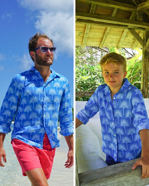 Matching fan palm print in mid blues by Lotty B Mustique for the Pink House men & kids linen collection