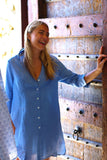 Womens Shirt Dress (Cornflower)