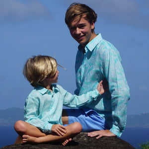 Matching mini me linen shirts whale print turquoise by lotty B Mustique kids holiday clothes