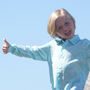 Beautiful linen childrens shirts by Lotty B Mustique - Turquoise Whale print