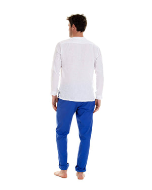 Mens Collarless Linen Shirt : CLASSIC WHITE with dazzling blue linen trousers, back