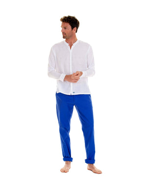 Mens Collarless Linen Shirt : CLASSIC WHITE with dazzling blue linen trousers, front