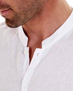 Mens Collarless Linen Shirt : CLASSIC WHITE collar detail