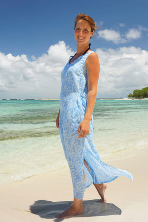 Womens Linen Sun Dress: BANANA TREE - BLUE