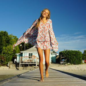 Bed-to-Beach Robe: FLAMBOYANT FLOWER - ORANGE